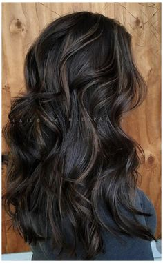 Black Hair With Highlights, Lowlights For Dark Hair, Dark Highlighted Hair, Subtle Brunette Highlights, Dark Brunette Hair, Brown Hair Balayage, Balayage Hair Dark Black, Hair Color For Black Hair, Black Hair Dyed Brown