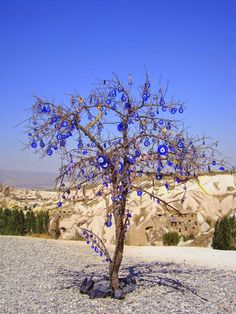 Evil eye tree in Cappadocia, Turkey. A nazar boncuğu is an eye-shaped amulet believed to protect against the evil eye. Evil Eye Art, Istanbul Turkey, Cappadocia Turkey, Antalya, Travel Photography, Beautiful Places, Scenery, Places To Visit, Around The Worlds