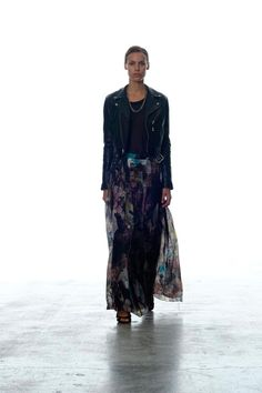 Leather moto jacket paired with a flowy maxi skirt at BLK DNM Spring 2013