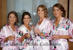 bridesmaid robes bride robe FLORAL ROBE Kimono Peacock Satin Dressing Gown Wedding Robe BRIDAL party robes Monogrammed or plain. New Wedding Dresses, Wedding Attire, Wedding Bride, Gown Wedding, Wedding Kimono, Bridal Party Robes, Bridal Gowns, Satin Dressing Gown, Diy Wedding On A Budget