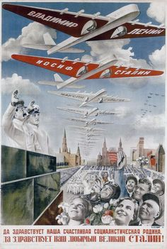 """""""Long Live Our Happy Socialist Land. Long Live Our Beloved Leader, the Great Stalin!""""Gustav Klutsis' wild adulation and mind-bending perspective take his poster from 1935 into parallel universe of Soviet socialist surrealism. Russian Constructivism, Ww2 Propaganda, Pub Vintage, Socialist Realism, Soviet Art, Strange History, Aviation Art, Retro Futurism, Vintage Travel Posters"""