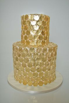 Gold Sequins Cake by cakecoquette, via Flickr