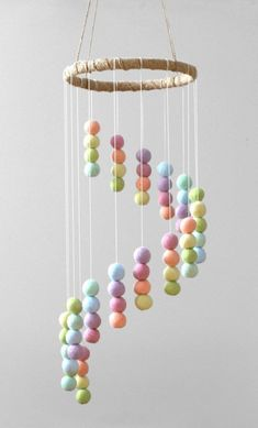 Top 10 Diy Room decoration for girls – Amazing Cool Products Gadgets - Julia Rainbow Nursery Decor, Pastel Nursery, Rainbow Room, Pastel Room Decor, Garland Nursery, Pom Pom Mobile, Felt Mobile, Easter Crafts For Kids, Mobiles