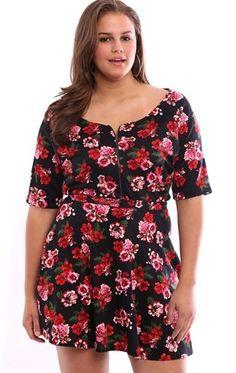 Deb Shops Plus Size Floral Print Skater Skirt $16.20