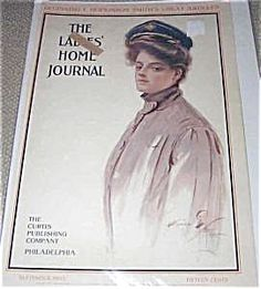 $58 c.1905 Military Army Lady - Antique Harrison Fisher Ladies Home Journal Cover art