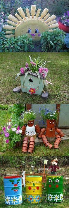 Идеи для дачи. Garden Deco, Garden Whimsy, Terrace Garden, Garden Planters, Garden Projects, Garden Crafts, Cheap Home Decor, Garden Furniture, Yard Art