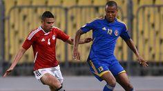 Swaziland's Barry Steenkamp (R) challenges Egypt's Ahmed Said Okka