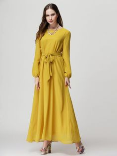Choies Women's Chiffon Long Sleeve Shift Maxi Dress With Belt at Amazon Women's Clothing store: