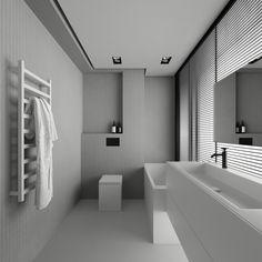 Behance :: New Projects Gray Interior, Luxury Interior, Bathroom Inspiration, Interior Inspiration, Bathroom Toilets, Bathrooms, Art Deco Bathroom, Contemporary Bathroom Designs, Interior Concept