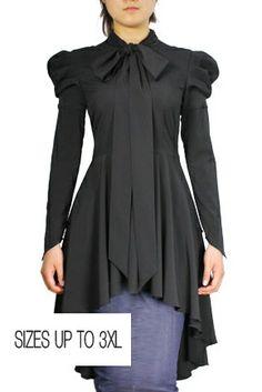 Jade Mackenzie - Black Long Sleeve Victorian Bow-Tie Top