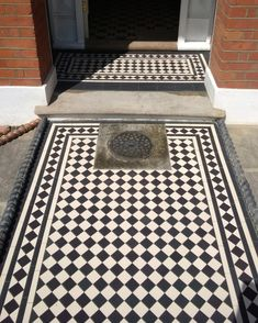 Victorian floor tiles and contemporary geometric ceramic tiles. Specialists in the design and supply of mosaic tile schemes. Morrocan Floor Tiles, Wooden Floor Tiles, Tile Floor, Hall Tiles, Porch Tile, Neutral Bedroom Decor, White Porch, Hallway Inspiration, Victorian Tiles