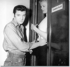 Elvis at Lizabeth Scott dressing room door,Paramount Studios (Loving You) Lund, Rock And Roll, Lizabeth Scott, Movie Co, Freckles Girl, Jailhouse Rock, Buddy Holly, Elvis Presley Photos, Two Movies