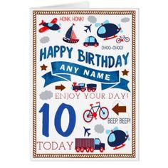 Train Plane Boat Car Personalised Birthday Card - birthday gifts party celebration custom gift ideas diy