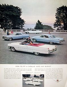 Rare company ad suggesting purchasing a used Cadillac as an economical alternative to Cadillac ownership. Features the 1964 DeVille Convertible, 1962 Coupe DeVille, 1963 Sedan DeVille, and the 1960 Six Window Sedan. Convertible, General Motors, Vintage Advertisements, Vintage Ads, Vintage Trucks, Ford Company, Automotive Manufacturers, Automobile Companies, Ford Classic Cars