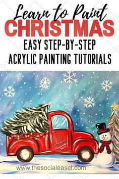 Canvas Painting Tutorials, Acrylic Painting For Beginners, Easy Canvas Painting, Simple Acrylic Paintings, Winter Painting, Step By Step Painting, Painting Lessons, Diy Painting, Acrylic Craft Paint
