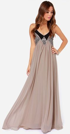 Beautiful Taupe Maxi Dress