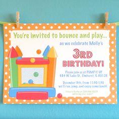 20 custom print bounce house invitations kids by Greencard on Etsy, $35.00