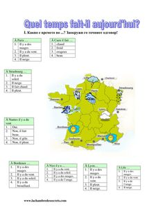 A worksheet that looks at the weather forecasts in different regions of France. French Language Lessons, French Language Learning, French Lessons, French Teaching Resources, Teaching French, French Worksheets, French Grammar, France Map, French Classroom