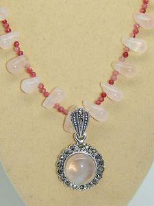Rose Quartz 925 Sterling Silver Pendant ON Rose Quartz RED Aventurine SET | eBay