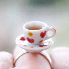 This adorable Miniature Teacup and Saucer Ring is our Valentines Day favorite. #EtsyUK