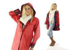 $72, Vintage 80s Vinyl Raincoat Red Rain Coat Buffalo Plaid Jacket 1980s Womens Outerwear Medium M Lined Raincoat by ScarletFury on Etsy