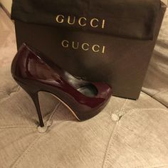 Authentic gucci heels Maroon color stunningly beautiful used once comes with dust bag and box 100% authentic Gucci Shoes Heels