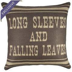 Burlap pillow with a fall-inspired typographic motif. Handmade in the USA.   Product: PillowConstruction Material: Burlap coverColor: Brown and beigeFeatures:  Handmade by TheWatsonShopZipper enclosureMade in the USAInsert included Cleaning and Care: Spot clean