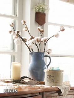 Blue Stoneware Pitcher with DIY Cotton Branches by Prodigal Pieces   prodigalpieces.com