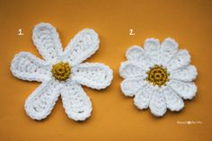 I've created a pattern for two different daisy flowers and if you follow me on Facebook, you may have seen me ask which one you like better…Because I can't decide! My daughters room has a daisy flower theme and I want to make some sort of crochet blanket to match her decor… but I can't …