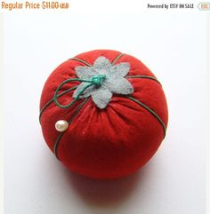 ON SALE Vintage C1950s Sewing Tomato Needle Pincushion Yellow Japan Tag Needles Pins by thenewenglandhuswife on Etsy