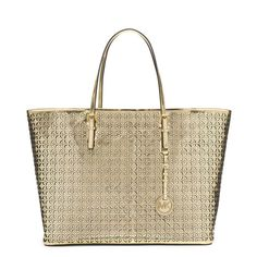 63ad70d34 Michael Kors Mk Flower Perforated Medium Travel Gold Leather Tote off retail
