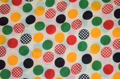 Multicolour Polka Dots on White COTTON PRINTED FABRIC (per meter price) PC313