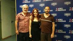 Alfonso Plou (autor) @Silvia_Solans (actriz) y @Carlos08083097 (director) en el estreno de Alicia y el club de los 27