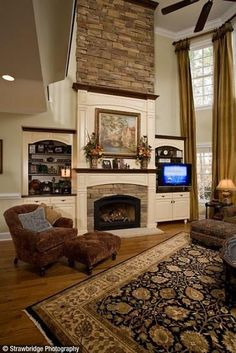 Stone Fireplace and Built-ins by VIP Designs