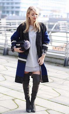Block Party Black Blue White Colorblock Long Sleeve Knee Length Duster Coat