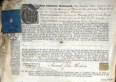 Indenture  as a Card Maker for Samuel John Hodson, Worshipful Master in 1868