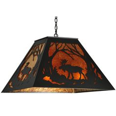Moose in the woods amber mica pendant light.