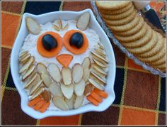 Owl Cheese Ball  -- Would be a great addition to an Origami Owl party!