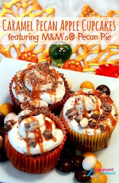 Celebrate Fall Favorites with these Caramel Pecan Apple Cupcakes made with the best ingredients from Mott's®, Pillsbury™, Snapple® and M&M's®! Best Dessert Recipes, Fun Desserts, Fall Recipes, Delicious Desserts, Yummy Food, Cupcake Recipes, Yummy Yummy, Fun Food, Yummy Recipes