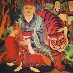 In the #sanshin #mountaingod #shrine #korean #temple #korea #painting #tiger #buddhism #shamanism #ginseng
