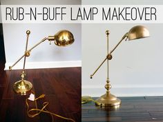 Make over a shiny brass lamp to look like expensive bronze with rub-n-buff, at View Along the Way battery operated lamp diy Lamp Makeover, Furniture Makeover, Diy Furniture, Furniture Refinishing, Plywood Furniture, Modern Furniture, Furniture Design, Plywood Floors, Futuristic Furniture