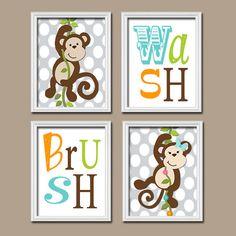 Monkey Bathroom Wall Art Brother Sister Artwork Boy By Trmdesign