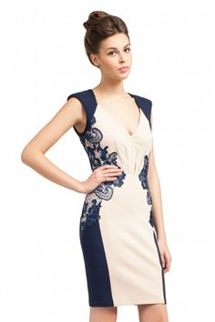 Little Mistress Cream And Navy Lace Detail Bodycon Dress