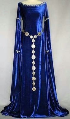 Gorgeous gown in royal blue velvet with silver trims. Mediaeval style.