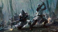 Art featuring medieval knights and their fantasy/sci-fi counterparts. Dark Fantasy Art, Fantasy Artwork, Fantasy Concept Art, Fantasy World, Fantasy Warrior, Fantasy Battle, Medieval Knight, Medieval Fantasy, Fantasy Inspiration