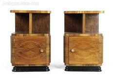 Art Deco Bedside Cabinets, French c1930
