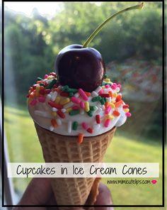 Lifestyle blogger MimiCuteLips latest #FatSnacks Friday treat; cupcakes baked in ice cream cones {cupcake ice cream cones} for National Ice Cream month.