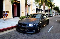 Matte black E92 BMW M3.