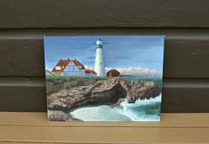 Lighthouse Painting, Vintage Acrylic Lighthouse Art, Portland Light at Cape Elizabeth Painting, Maine Coastal Art, Portland Lighthouse, Cape Elizabeth, Lighthouse Painting, Cottage Art, Painted Boards, Using Acrylic Paint, Coastal Art, Canvas Board, Architecture Details