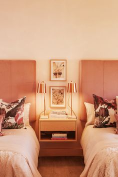 Blush pinks, floral patterns and copper. This bedroom is   the ultimate space for a girls getaway.